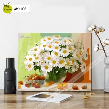 Tranh tô màu Lọ hoa cúc trắng