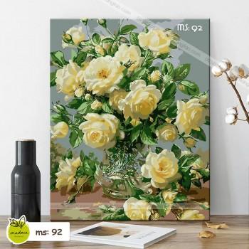 Tranh tô màu theo số Hoa hồng vàng