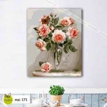 Tranh hoa hồng cam