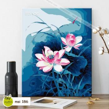 Tranh tô màu hoa sen xanh lam