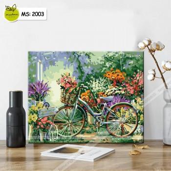 Tranh tô màu theo số xe đạp và sắc hoa T2003
