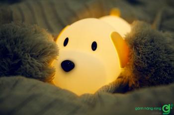 đèn ngủ silicon cún nằm