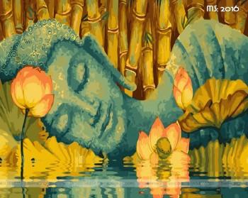 Tranh không khung 50x65 Đức Phật bên hồ sen L2016