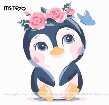 tranh tô màu theo số bé cánh cụt mộng mơ TE79