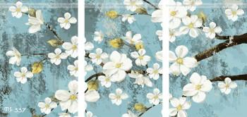 Tranh tô màu bộ 3 hoa đào