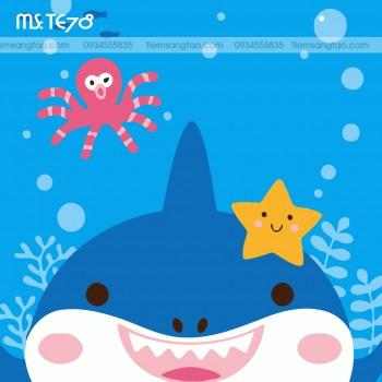 tranh tô màu theo số cá mập con TE78