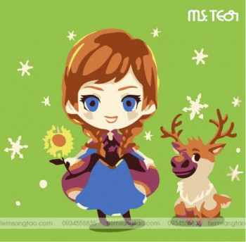 tranh tô màu theo số công chúa ấm áp Anna TE81