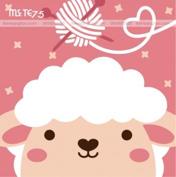 tranh tô màu theo số cừu trắng đan len TE75