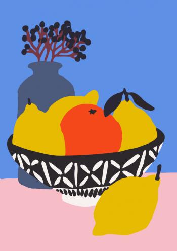 Tranh tô màu Daily life đĩa hoa quả T942