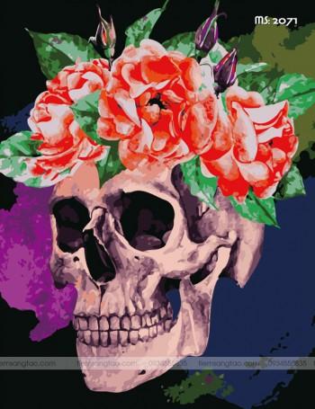 Tranh Tô Màu Flower Skull T2071