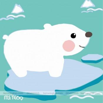 tranh tô màu theo số gấu trắng Bắc cực TE69
