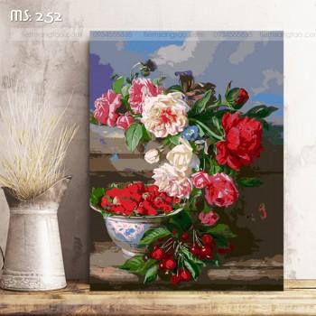 Tranh tô màu hoa hồng nghiêng 252