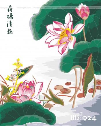 Tranh tô màu hoa sen thư pháp 924