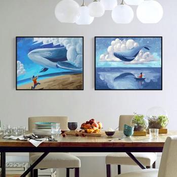 Tranh tô màu kết hợp biển xanh và mây trắng 305 và giấc mơ đại dương 333