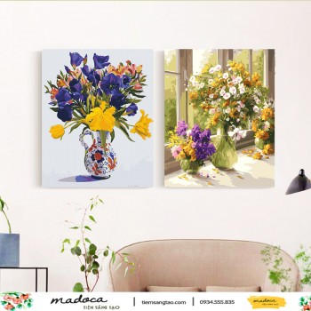 Tranh tô màu kết hợp hoa tím biếc 310 và hoa đồng nội T26