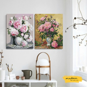 Tranh tô màu kết hợp mẫu đơn T11 và hoa cổ hồng nhạt T170