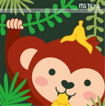 tranh tô màu theo số khỉ nâu chơi đùa TE74
