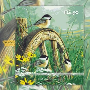 Tranh tô màu 50x65 chim trên thảm cỏ xanh