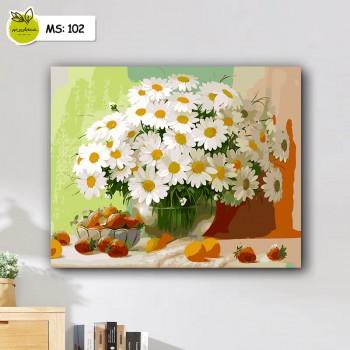 tranh tô màu 50x65 Lọ hoa cúc trắng