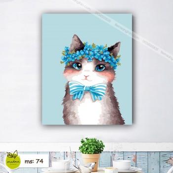 Tranh tô màu 50x65 mèo nơ xanh