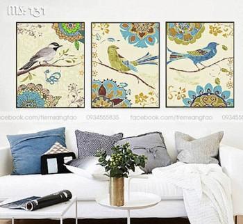 Tranh tô màu bộ 3 Chim sắc màu