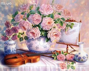 Tranh hoa hồng đàn violin