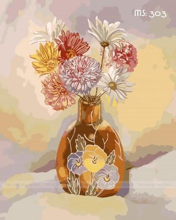 Tranh tô màu hoa cổ điển T303