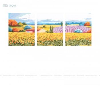 Tranh tô màu theo số bộ ba Triền Đồi Hoa Hướng Dương T395