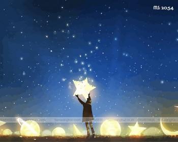 Tranh tô màu theo số ngôi sao ước mơ T2054