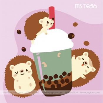 tranh tô màu theo số trà sữa 3 con nhím TE86